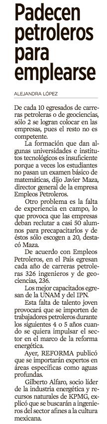 Nota del Diario Reforma sobre Empleospetroleros.com
