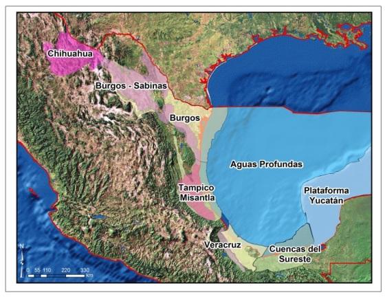 Reservas hidrocarburos México mapa